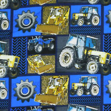 Patchwork Quilting Sewing Fabric BLUE TRACTORS FARM MACHINERY 50x55cm FQ New