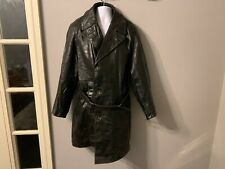 VINTAGE 60's GERMAN DISTRESSED LEATHER BELTED TRENCH COAT JACKET SIZE M