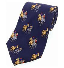 Navy Blue Luxury Silk Tie with Jockey and Race Horses - ascot epsom newmarket