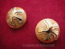 """Boucles d'oreille """"Anémone Etoile"""" résine Orange 60's - Bijoux pur Vintage"""