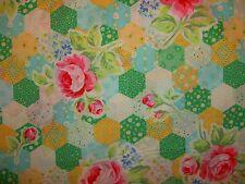 Retro Cottage Flower Sugar 31128 50 Lecien Rose Floral Hexagon Patchwork Yellow