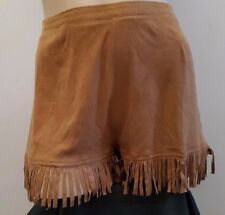 NEW New Look Rocker Chic Bohemian Gypsy Faux Suede Khaki Brown Fringed Shorts 10