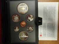 1985 Canada Proof 7 coin set, Silver Dollar mint pkg + COA Excellent