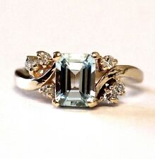 14k yellow gold .18ct SI2 H diamond topaz ring 4.6g estate ladies vintage