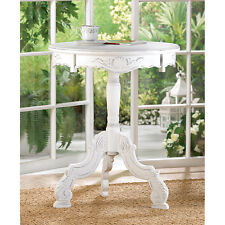 DISTRESSED WHITE SHABBY ROMANTIC ROCOCO ROUND CHIC ACCENT TABLE DECOR~34708