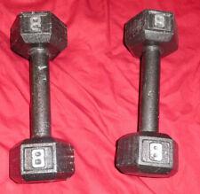 2 pair 8 lbs Pounds Cast Iron Hexagon Dumbell weight bar