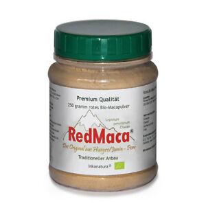 RED MACA® BIO PULVER  250g DOSE  NEU ! ORIGINAL AUS PERU EU BIO Siegel rote Maca