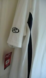 Sz XXX-LARGE RAWLINGS WHITE/NAVY TRIMS SHORT-SLEEVE POLO SHIRT £30 new with tags