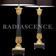 PAIR XL CLASSIC MODERN BRASS CORINTHIAN COLUMNS HOLLYWOOD REGENCY LAMPS CHAPMAN