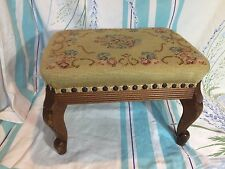 Vintage Solid Mahogany Frame Floral Needlepoint Footstool Colonial Furniture Co.
