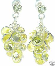 Solid 925 Sterling Silver Simulated Peridot  CZ Cluster Earrings '