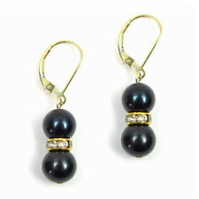 8-8.5mm AAA Cultured Black Pearl Lever Back Earrings 14K Yellow Gold Filled