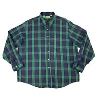 Vintage LL Bean Button Up Shirt Men's Size 2XL Long Sleeve Plaid Cotton Made USA