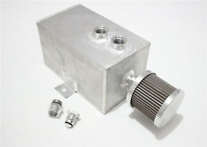 3L ALUMINUM  oil catch tank with breather & drain tap natural finish 3lt