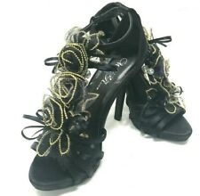 Wild Rose women's size 7 Black and Gold Open Toe Strap High Heel