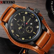 Herrenuhr CURREN braunes Leder Uhr Analog Militär Datum wasserdicht Armbanduhr