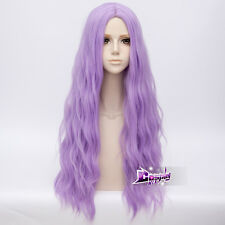 "Lolita  New Fashion Women  31"" Long Light Purple Curly Anime Cosplay Full Wig"