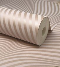 Paste The Wall - Geo Stripes Ogee Wave Pink Feature Wall Wallpaper - DL31221