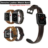 30/42/40/44mm Genuine Leather iWatch Leather Band Strap for Apple Watch 5 4 3 2