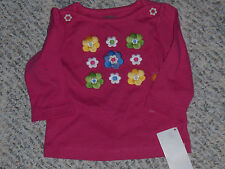 """NWT - Gymboree """"Showers of Flowers"""" long sleeved hot pink flowered top- 6-12 mos"""