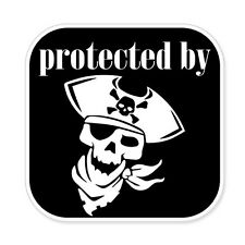 """Protected By Pirates car bumper sticker decal 4"""" x 4"""""""