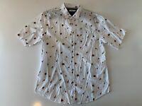 UNIVIBE Men's Hamburger Grilling Short Sleeve Button Front Shirt Size XL