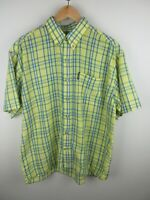 Timberland Mens Shirt Size L Short Sleeve Button Up Regular Fit Yellow Plaid