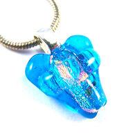 "Dichroic Fused Glass HEART & Cross PENDANT Silver Turquoise Aqua Blue 1/2"" 12mm"