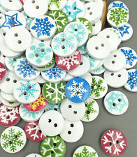50 PCS Christmas Snowflake Wooden Buttons Sewing Clothing Accessories 15mm