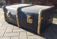 LARGE Steamer TRUNK Suitcase CHEST Decorative VINTAGE Coffee TABLE Wood Ribbed