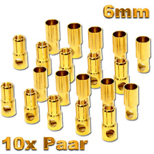 6 mm Goldkontakt 5 Paar Stecker Buchse Flugzeug Regler LeFe Lipo Akku Kontakt