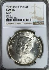 1934 China Junk Dollar  Year 23 Sun Yat-Sen   L&M-110 NGC MS62