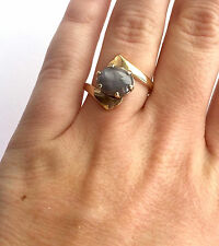 Antique 14K Rose Gold Grayish Blue Natural Star Sapphire Ladies Ring Size 8