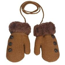 Winter Warm Toddler Baby Boy Girl Kid Thick Fur Gloves Mittens with Neck String