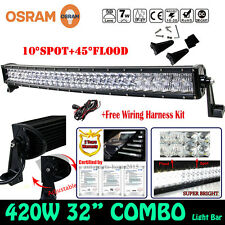 5D 420W 32INCH OSRAM Curved LED Combo Work Light Bar Offroad Driving SPOT FLOOD