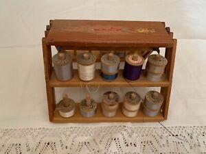 Vtg Belding Corticelli Buttonhole Pure Silk Twist Thread 26 Spools & Wood Rack