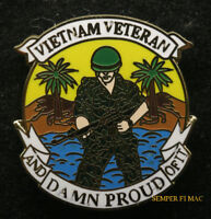 VIETNAM VETERAN AND DAMN PROUD OF IT HAT PIN US ARMY MARINES NAVY USCG AIR FORCE