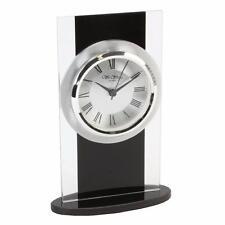 Glass and black modern mantle clock W2703