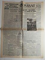N192 La Une Du Journal Combat 20 octobre 1944 Américains débarquent Philippines
