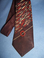 "WEMBLEY vintage Men's LONG TIE brown w/ rust & cream 50"" x 3.75"" lined 1940-1950"