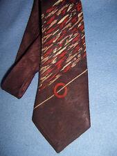 "WEMBLEY vintage Men's LONG TIE brown w/ rust & cream 50"" x 3.75"" lined 1940-1950"