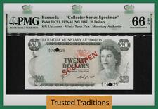 TT PK 31CS1 1978-84 BERMUDA 20 DOLLARS QUEEN ELIZABETH II SPECIMEN PMG 66 EPQ!