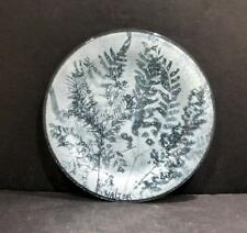 """Studio Glass Plate With Ferns by Edwin D. Walter - 7"""" - MINT"""