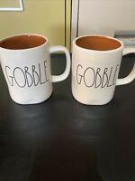 2 NEW Rae Dunn by Magenta Coffee Mug Tea Cup Ceramic GOBBLE White Thanksgiving