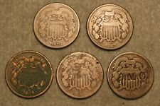 5 Piece Two Cent Piece United States Type Coin Lot (2)1864 1867 1869 & 1870