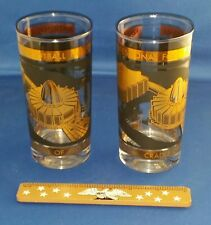 2-NFL Pro Football HALL OF FAME Vintage Glass Tumblers▪Anchor Hocking▪Excellent