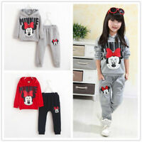 2Pcs Toddler Baby Girls Minnie Mouse Hoodie Tops + Pants Set Kids clothes set