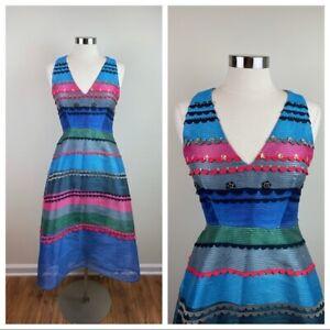 Anthropologie Pankaj & Nidhi Blue Pink Stripe Sleeveless Beaded Dress Women