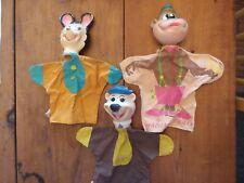 3 Vintage 1960's Hanna Barbera Puppets - Huckleberry Hound, Magilla Gorilla