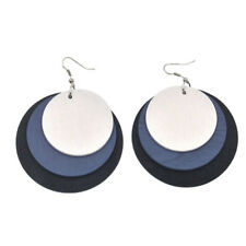Multilayer Wood Round Earrings Fashion Ear Dangle Drop Charms Chic Jewelry Gift
